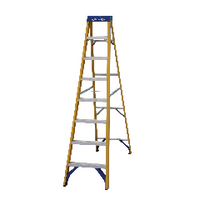 Abru Fibreglass Swingback Step Ladder 8 Tread Yellow 71608