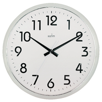 Acctim Chrome/White Orion Silent Sweep Wall Clock 320mm 21287