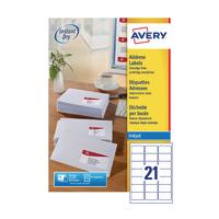 Avery White Inkjet Address Labels 63.5 x 38.1mm 21 Per Sheet (2100 Pack) J8160-100