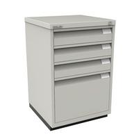Bisley Filing Cabinet 3+1 Drawer Flush Fronted Lockable Goose Grey