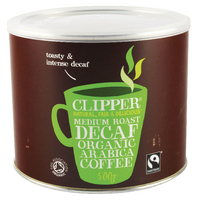 Clipper Fairtrade Organic Decaffeinated Coffee Tin 500g A06746