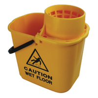 Yellow Plastic Mop Bucket with Wringer 15 Litre 102946YL