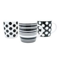 Blk/Wht 11oz Squat Mugs Dot/Stripes Pk12