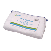 2Work White Dishcloth 300 x 400mm White Pk10