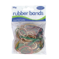 Image for County Rubber Bands Coloured 50gm (12 Pack) C225