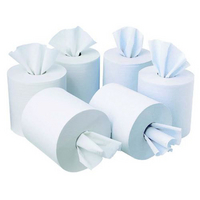 Soft and strong absorbent centre-feed rolls.
