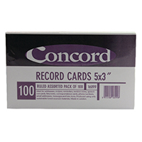 Image for Concord Record Card 5x3 inches Assorted (100 Pack) 16099/160
