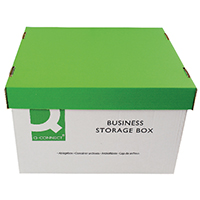 Q-Connect Green and White Business Storage Box 335x400x250mm (10 Pack)