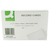 Image for Q-Connect Record Card 6x4 Inches Ruled Feint White (100 Pack)