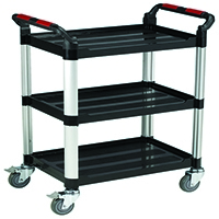 Image for Barton Black and Silver 3 Shelf Standard Plastic Trolley WHTT3SS
