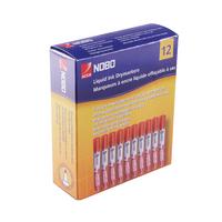 Nobo Liquid Ink Dry Wipe Marker Bullet Tip Red (12 Pack) 1901074