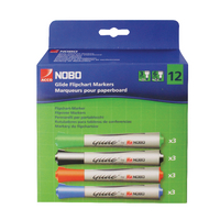 Nobo Assorted Glide Flipchart Pad Markers Chisel Tip (12 Pack) 1902081