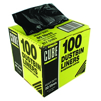 Le Cube Black 80 Litre Dustbin Liner Dispenser (100 Pack) 0483