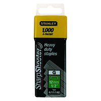 Image for Stanley SharpShooter Heavy Duty 12mm 1/2in Type G Staples (1000 Pack) 1-TRA708T