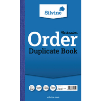 Image for Silvine Carbonless Duplicate Order Book Blue 210x127mm (5 Pack) 710