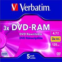 Image for Verbatim DVD-RAM 4.7GB Jewel Case (5 Pack) 43450