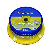 Image for Verbatim DVD+RW 4x Spindle (25 Pack) 43489